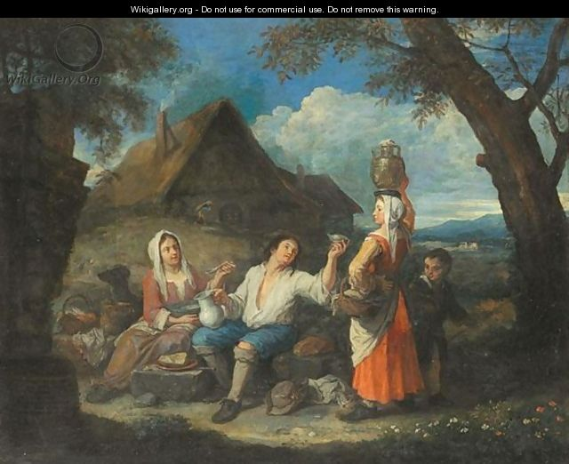 Landscape With Peasants Resting For Lunch Before A Cottage - Franco-Flemish School