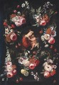 Virgin And Child Surrounded By A Floral Garland - (after) Jan Philip Van Thielen