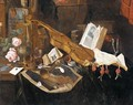 Vanitas Still Life With A Violin, A Recorder, A Pipe, An Almanach And Other Books Together On A Table - Dutch School