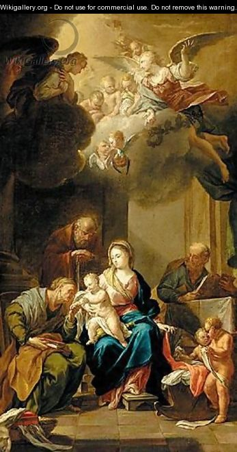 The Holy Family With Saints Anne And Joachim, With Angels - (after) Francesco Trevisani