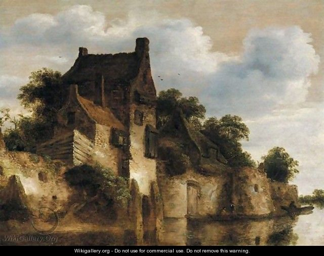 A River Landscape With Houses Above A Set Of Ramparts On The Edge Of The Water, Figures In A Boat Below - Roelof van Vries