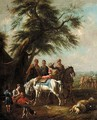 Landscape With Travellers And Horses Resting Under A Tree - (after) Pieter Van Bloemen