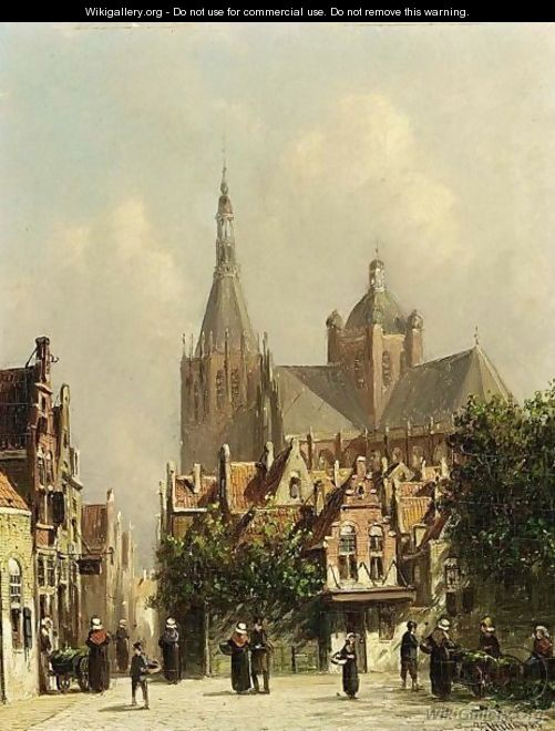 Villagers In The Streets Of A Dutch Town 2 - Pieter Gerard Vertin
