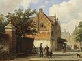 Villagers In The Streets Of A Dutch Town - Adrianus Eversen