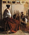 An Artist's Studio, With Students Painting A Model - French School