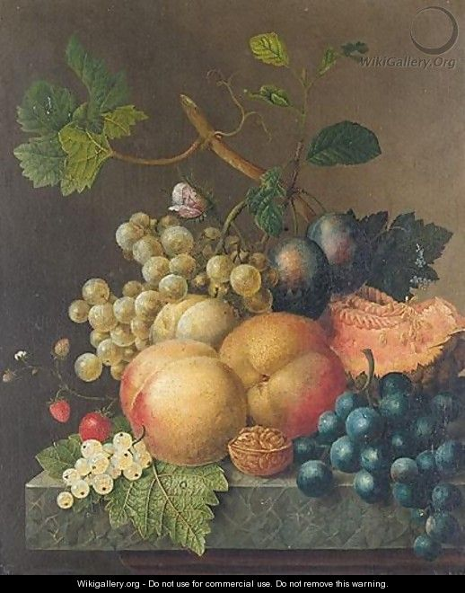 Still Life With Peaches, Plums, Strawberries, Grapes, A Walnut And A Melon On Stone Ledge - (after) Willem Van Leen