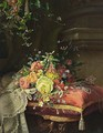 A Still Life With Flowers, Lace And Jewellery - Dirk Jan Hendrik Joosten