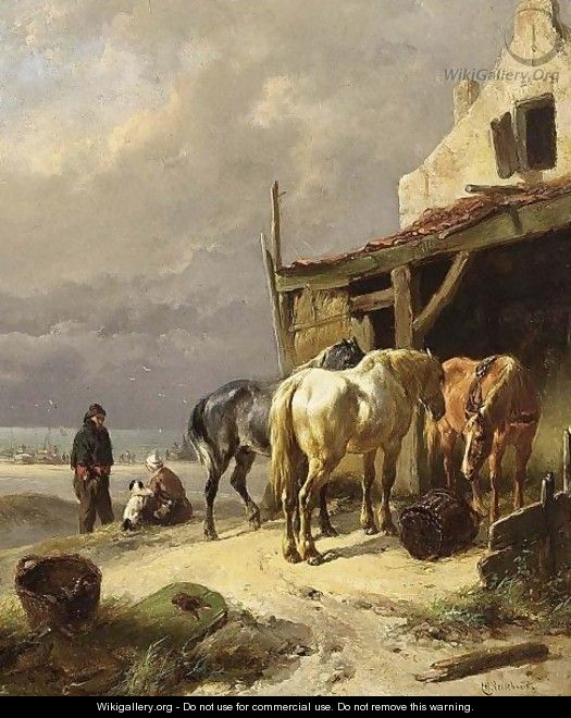 Horses At Rest Near The Beach - Wouterus Verschuur