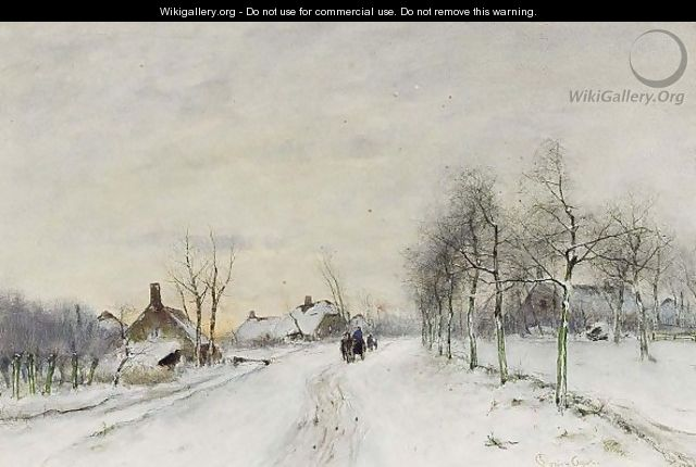 A Winter Landscape With Travellers On A Path - Louis Apol