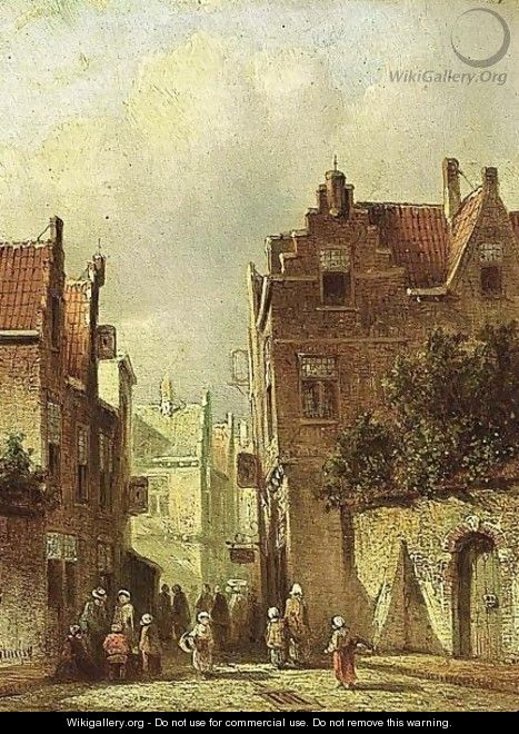 Villagers In The Streets Of A Dutch Town 3 - Pieter Gerard Vertin