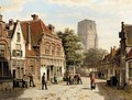 Dutch Street With Church Tower - Willem Koekkoek