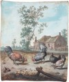 Cockerels And Chickens In A Farmyard - Margareta De Heer