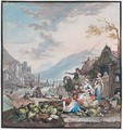 A Market Scene With Figures By A Quayside And A Mountainous River Landscape Behind - Willem Troost
