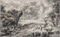 Rocky Italianate Landscape With Figures Resting By A Stream - Abraham Genoels