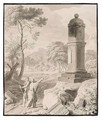 Arcadian Landscape With Two Figures On A Road By A Monument - Johannes (Polidoro) Glauber