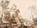 Italianate Landscape With Ruins, And Figures On A Bridge - Adriaen Van Der Kabel
