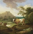 An Italianate Landscape With A Bull In The Foreground And A Shepherd With His Herd Nearby - Adriaen Van Diest