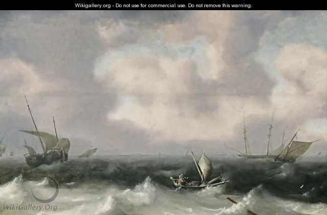 Fishing Boats In Stormy Seas, A Distant View Of A Town - Hendrik van Anthonissen