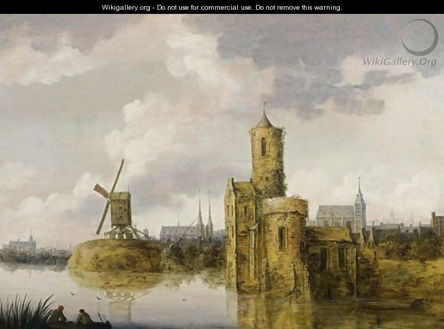 A River Landscape With A Fortified Tower And A Windmill, A View Of A Town With Churches In The Background - Pieter Segaer