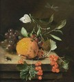 A Still Life Of An Orange, Grapes And Red Berries, Together With A White Butterfly, A Dragonfly And A Bee, All On A Wooden Ledge - Marten Nellius