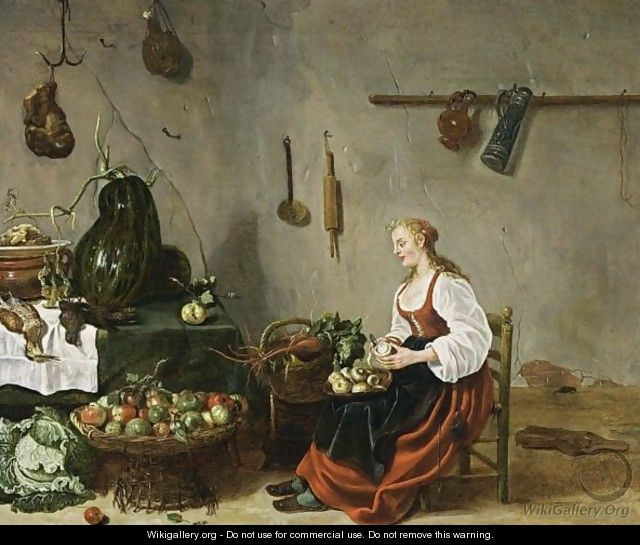 A Kitchen Interior With A Maid Cleaning Turnips Sybrand Van Beest Wikigallery Org The Largest Gallery In The World