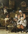 A Kitchen Interior With A Maid Plucking A Duck And A Little Boy Eating Porridge - Sybrand Van Beest