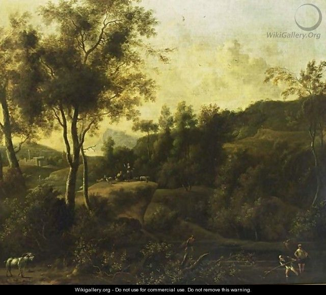 A Southern Wooded Landscape With Fishermen In A Stream And Shepherds With Their Herd In The Background - Frederick De Moucheron