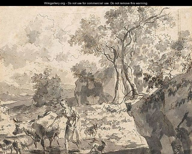 Rocky Landscape With A Peasant Woman And Her Animals In A Stream - Dutch School