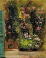 Still Life With Flowers And Green Shutters - Boris Dmitrievich Grigoriev