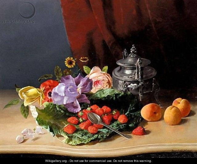 Still Life Of Flowers And Fruit - David Emil Joseph de Noter