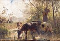 Cattle Watering By A River - Continental School