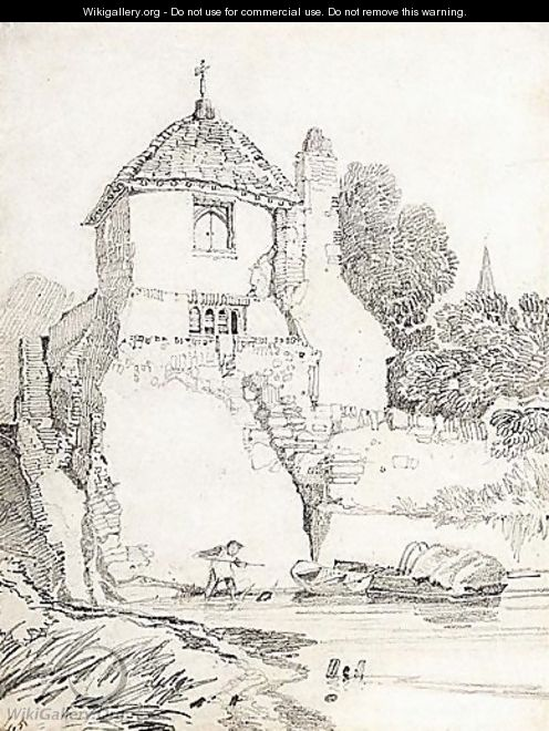 A Child Playing In A River Below A Cottage, Guildford, Surrey - John Sell Cotman