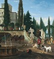 The courtyard of an italianate villa with a hunting party - Jan Blom