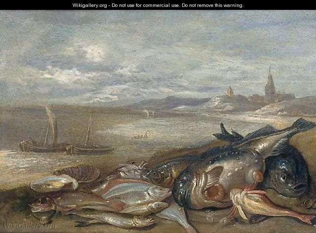 A still life of various fish and crustaceans on a bech - Jan van Kessel