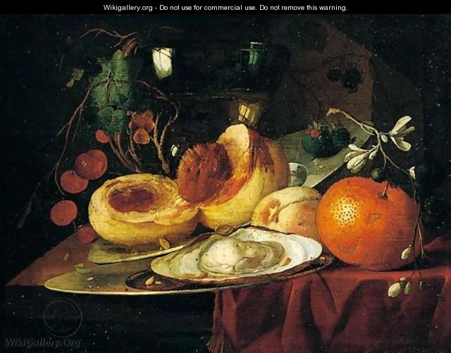 A still life of peaches and orange - Elias Van Den Broek