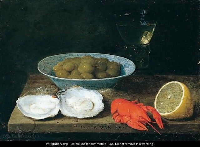 A still life of green olives in a blue and white porcalein bowl - Jacob Foppens Van Es