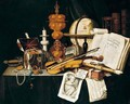 A vanitas still life of violin, recorder, music score, globe - Edwart Collier