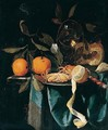 A still life of oranges, wine glass, cherries, bread and tobacco - Harmen Loeding