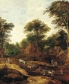 A wooded landscape with an overturned waggon on a path before a village - (after) Joos De Momper