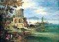 A coastal landsaCOASTAL LANDSCAPE WITH THE TEMPLE OF VESTA - (after) Jan The Elder Brueghel