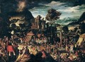 Moses receiving the commandments and the israelites adoring the golden calf - North-Italian School