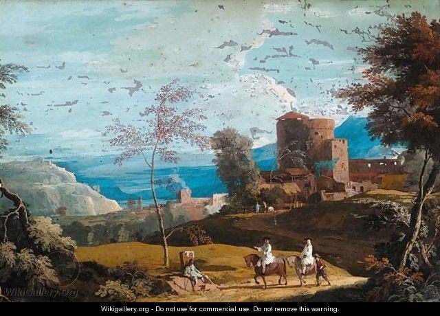 A landscape with travellers on a road - Marco Ricci
