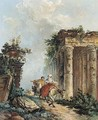 Two figures on horseback in a landscape with ruins - (after) Hubert Robert