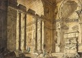 Capriccio view of a temple interior with figures - (after) Charles-Louis Clerisseau