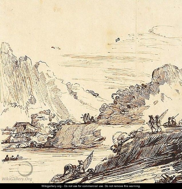 A mountainous landscape with buildings, and figures fishing by a river - (after) Giovanni Francesco Guercino (BARBIERI)
