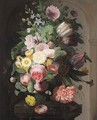 Still Life With Roses, Daisies, Poppies, Lilies And Other Flowers In A Vase On A Stone Pedestal - French School