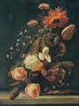 Still Life With Roses, Tulips, Carnations, And Other Flowers In A Glass Vase On A Stone Ledge - (after) Simon Pietersz. Verelst