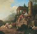 Southern Landscape With A Drover And Shepherdess With Their Flocks Beside A Fountain - Johann Heinrich Roos