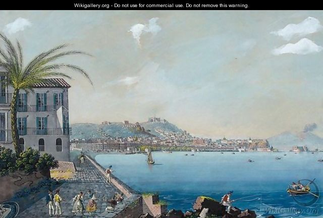 A View of the bay of Naples from Mergellina - Neapolitan School