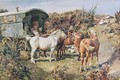 A Gypsy Camp With Horses And Hens - Sir Alfred James Munnings